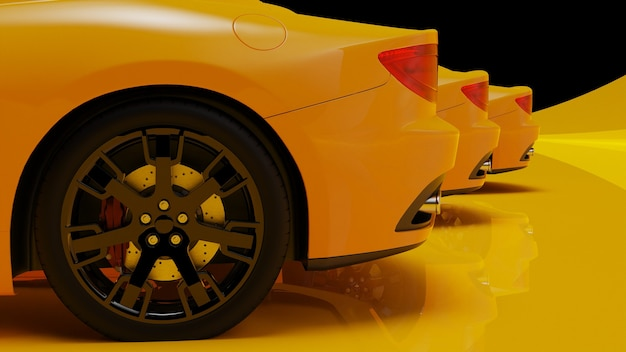 3d illustration of yellow cars on a yellow surface