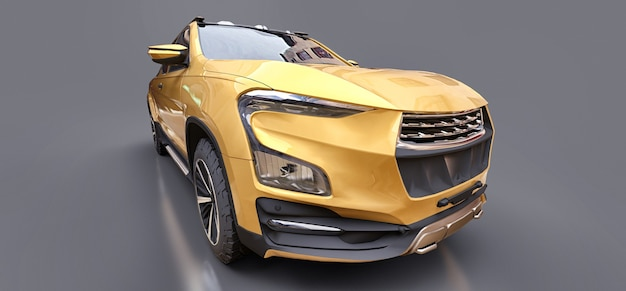 3d illustration of yellow concept cargo pickup truck on grey isolated background. 3d rendering.