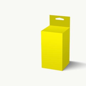 3d 그림 노란색 중단 슬롯 포장 상자 흰색 배경에 고립. 프로젝트 요소 설계에 적합합니다.
