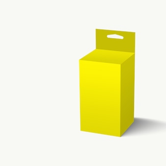 3d illustration yellow hang slot packaging box isolated on white background. suitable for your project element design.