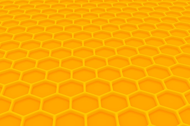 3d illustration of a yellow honeycomb monochrome honeycomb for honey. pattern of simple geometric hexagonal shapes, mosaic background. bee honeycomb concept, beehive