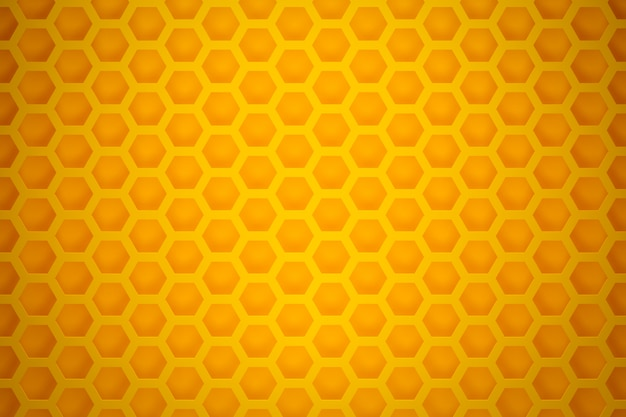 3d illustration of a yellow honeycomb monochrome honeycomb for honey. pattern of simple geometric hexagonal shapes, mosaic background.