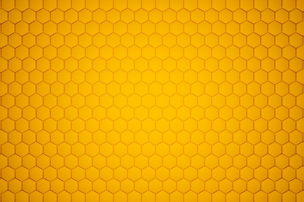 3d illustration of a yellow honeycomb monochrome honeycomb for honey.