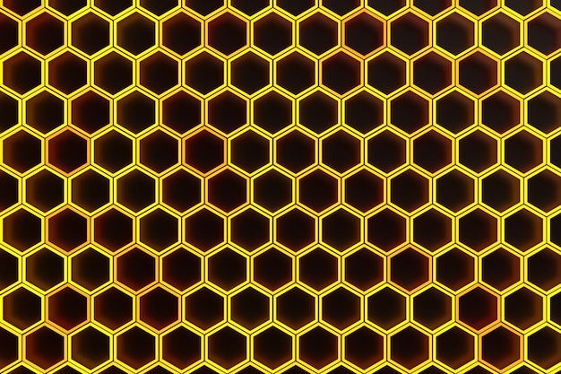3d illustration of a yellow honeycomb monochrome honeycomb for honey