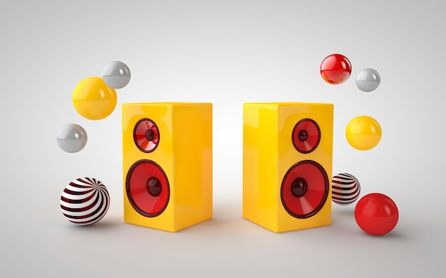 3d illustration yellow speakers and colorful circle