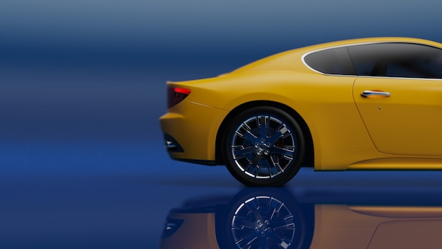 3d illustration of yellow vehicle on a blue surface
