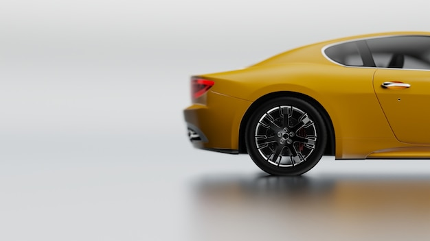 3d illustration of yellow vehicle on a white surface