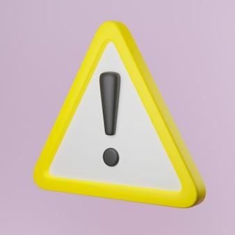 3d иллюстрации желтый предупреждающий знак