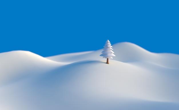3d illustration冬の木低ポリクリスマスシーンの背景。