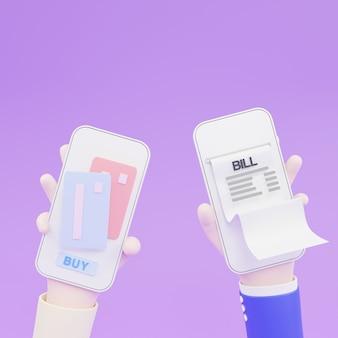 3dイラスト。非接触型決済。近距離無線通信の概念。オンライン取引paypass