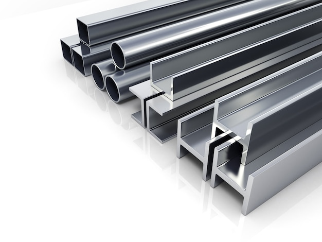 3d иллюстрации квадратных металлических труб и профилей, изолированные на белом фоне в качестве фона Premium Фотографии
