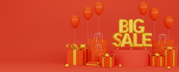 3d illustratoion of big sale promotion banner poster with red background and golden balloons