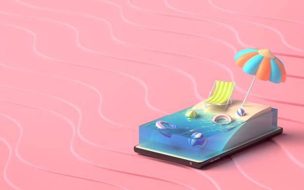 3d иллюстратор концепции summer beach на смартфоне.