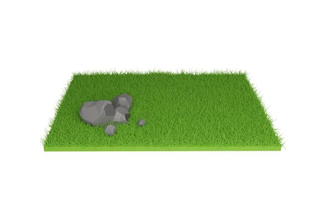 3d визуализация, камень на траве в поле