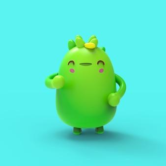 3d иллюстрации милый маленький дино каваи мультипликационный персонаж визуализации