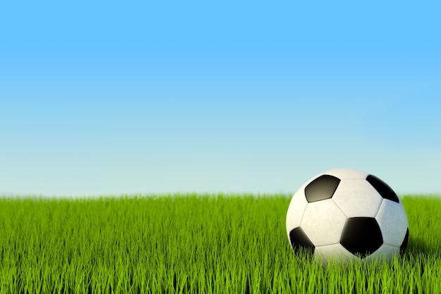 3dイラスト、芝生の上でサッカーだけ