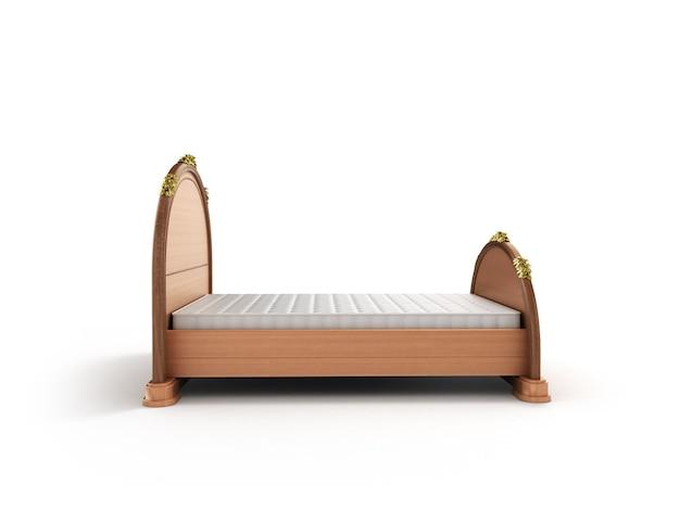 3d иллюстрации деревянной кровати с матрасом, изолированные на белом bacgrownd