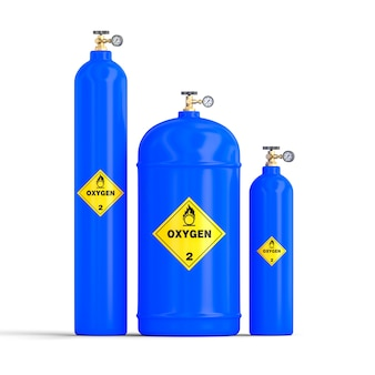 3d image of gas oxygen cylinders