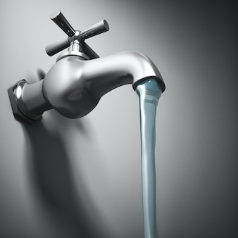 3d image of metal tap and running water