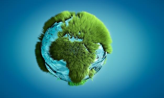 Трехмерное изображение земного шара из воды и травы, растущей на контурах на континентах. понятие о природе и окружающей среде.