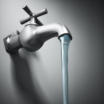 金属製の蛇口と流水の3d画像