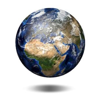 Трехмерное изображение планеты земля. вид на европу и африку