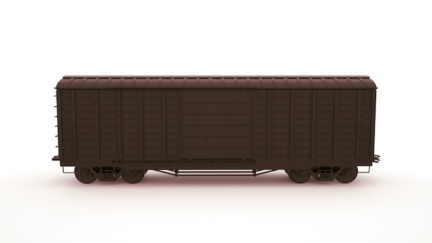 3d image railway carriage, logistics. transportation of goods by rail, locomotive. graphic design element isolated on white background.