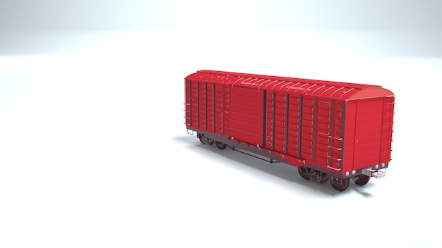 3d image of a red railway carriage