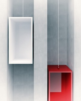 3d image of red and white elevator