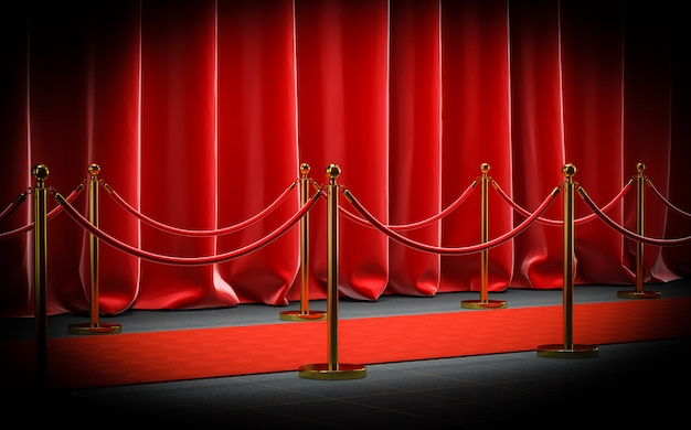 3d image render of a red cap with velvet barriers and cords and curtains.