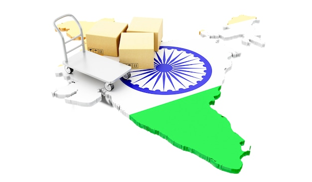 3d india map with cardboard boxes and hand truck.