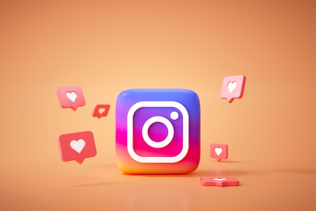3d instagram application logo background. instagram social media platform.