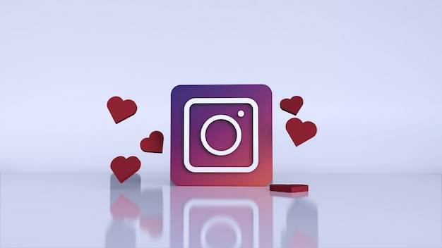 3d instagram application logo. instagram social media platform