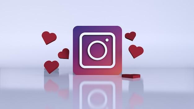 3d instagram application logo. instagram social media platform