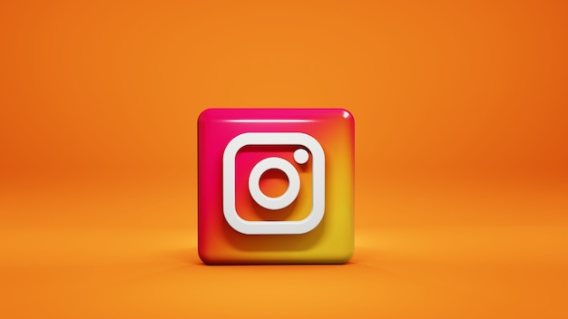 3d instagram icon isolated on yellow background