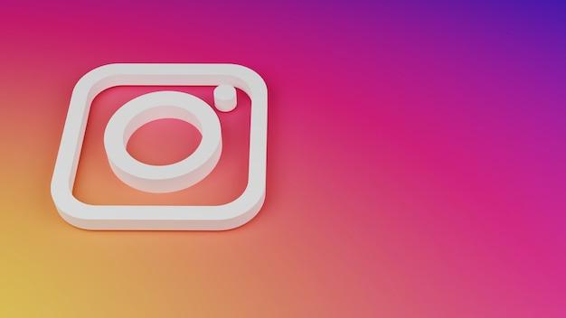 3d instagram 로고 아이콘 배경 복사 공간