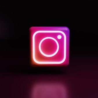 3d instagram логотип значок светится высокое качество рендеринга