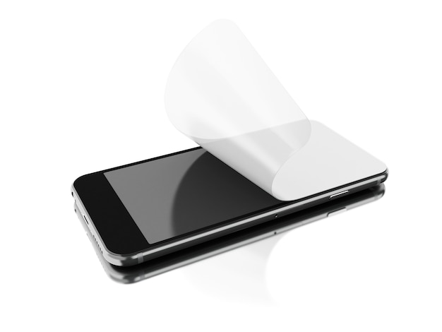 3d installation of protective film on a smartphone