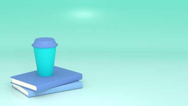 3d installed books and coffee cup with blue-green space