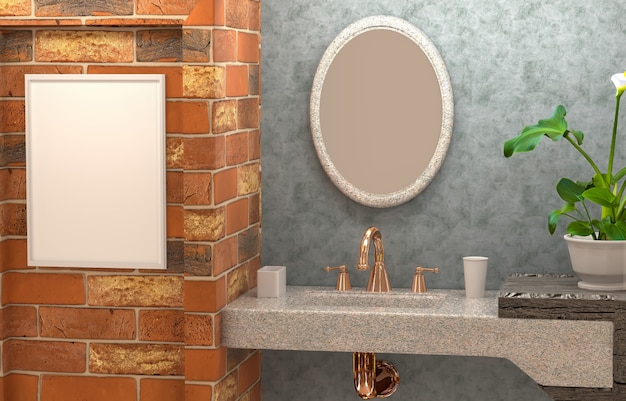 3d interior of the bathroom with concrete wall, flower, abstract  mirror and an empty frame