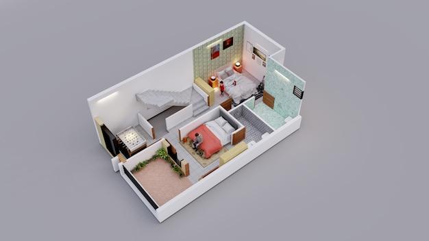 個人住宅の3dインテリアプラン