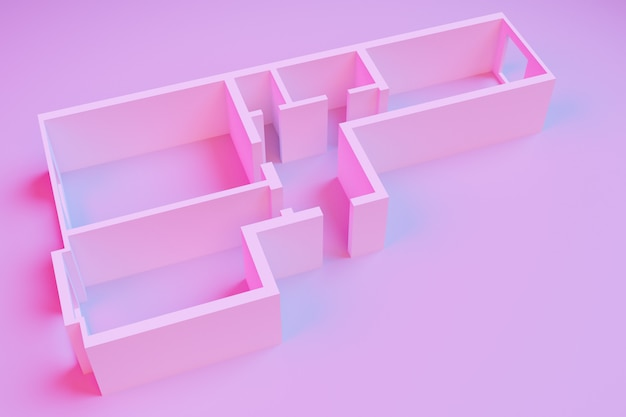 3d interior rendering of an empty paper model of an apartment house with two bedrooms on a pink background