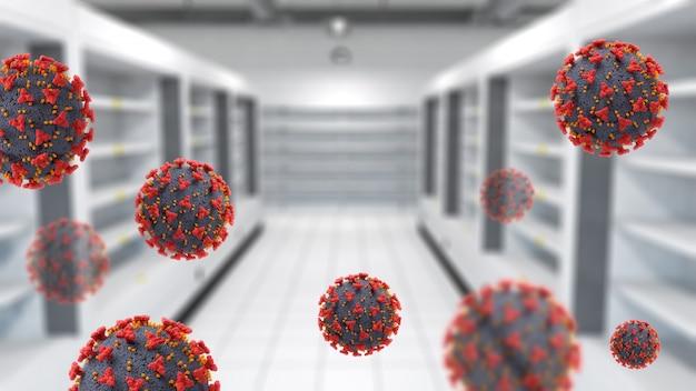 Interno 3d di un supermercato con scaffali vuoti e cellule virus covid-19