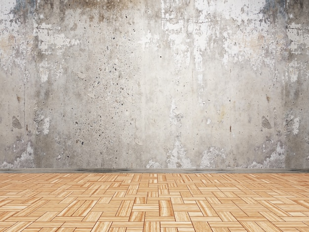 3d interior with grunge wall and parquet wood floor