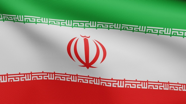 3d, iranian flag waving on wind. close up of iran banner blowing, soft and smooth silk. cloth fabric texture ensign background
