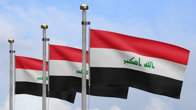3d, 푸른 하늘과 구름으로 바람에 흔들리는 이라크 국기. 부드러운 실크를 불고 이라크 배너 닫습니다. 천 패브릭 질감 소위 배경입니다. 국경일 및 국가 행사 개념.