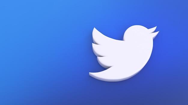 3d изображение простого значка twitter на синем градиенте