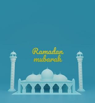 3d исламский фон с куполом и минаретами мечети в рамадане