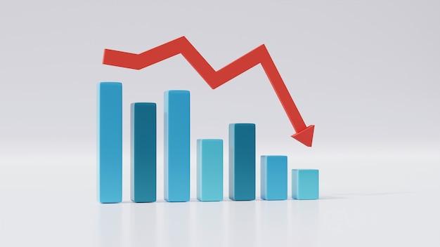 3d孤立棒グラフは、ビジネスの成長を反映して減少するか、株価は赤い下降トレンド矢印で減少します。統計予測、財務利益