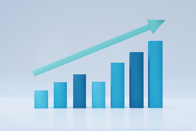 3d isolated bar chart improving business growth concept with uptrend arrow, statistics forecast, financial profit
